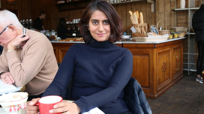 Gulnar Hasnain at the Madelaine Cafe in Clapham. Photograph: Eilidh Wagstaff
