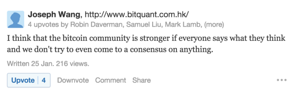 Joseph Wong: the bitcoin community is stronger if everyone says what they think.
