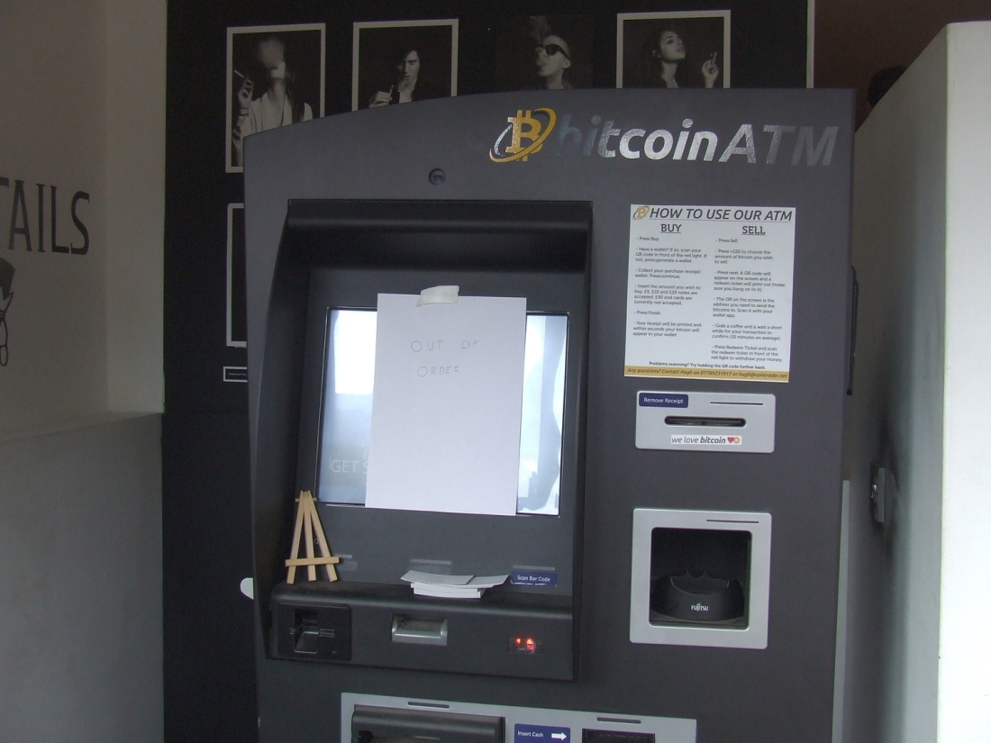 The broken Bitcoin ATM at the Vape Lab, Shoreditch.